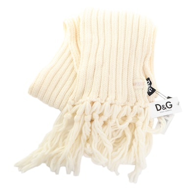 Dolce & Gabbana Off-White Cable Knit Oversize Scarf