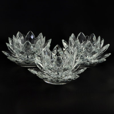 Two's Company Crystal Lotus Candle Holders