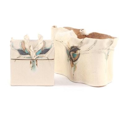 Mary Ann Wurst Hand Built Slab Pottery Box and Vase