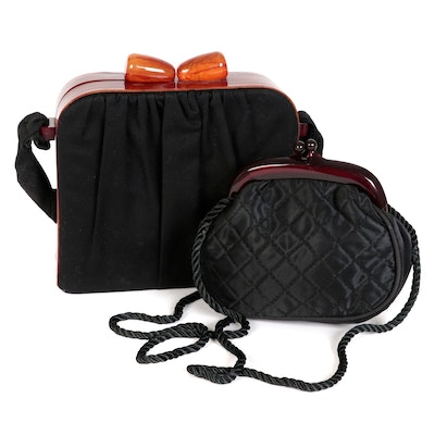 Tecla and Other Lucite Kisslock Frame Handbags in Black