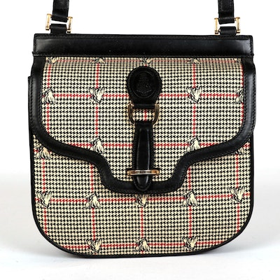 Mark Cross Crossbody Bag in Equestrian Print with Black Leather