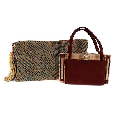 Woven Multicolor Clutch and Suede Frame Top Handle Bag