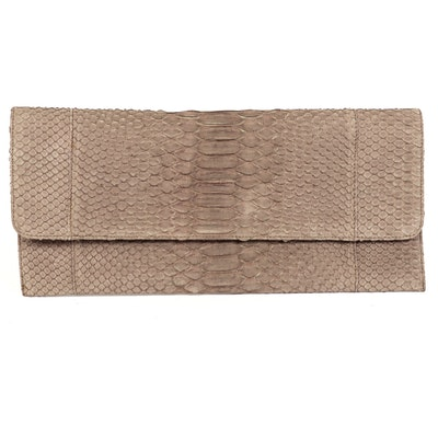 Carlos Falchi Convertible Clutch in Taupe Python Skin with Chain Link Strap