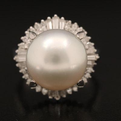Platinum 12.47 MM Pearl and Diamond Ring