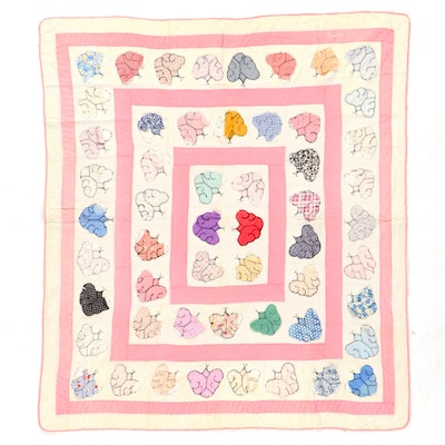 Handmade Butterfly Appliqué Quilt, Early to Mid-20th Century