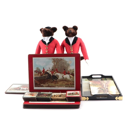 Fox Hunt Themed Décor Including Place Mats, Coasters, Tray and Plush Dolls