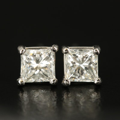 Platinum 1.48 CTW Diamond Stud Earrings with GIA Report and GIA Online Report
