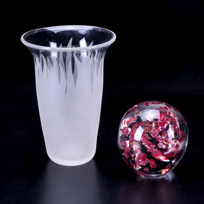 Andy Hudson Handblown Art Glass Vase and Paperweight with Copper Inclusions