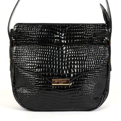 Courrèges Paris Embossed Black Patent Leather Crossbody Bag