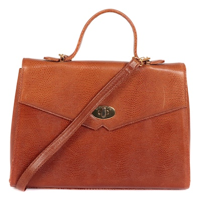 Ungaro Top Handle Bag in Lizard Embossed Tan Leather with Detachable Strap