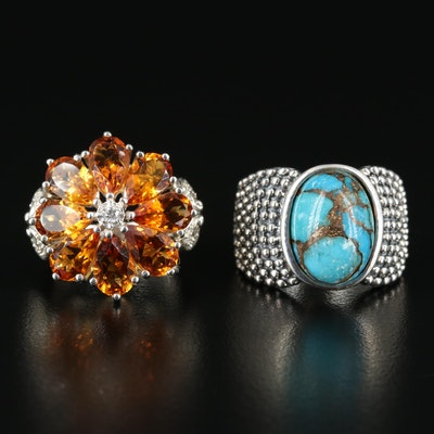 Michael Dawkins Sterling Turquoise Ring and Citrine Flower Ring
