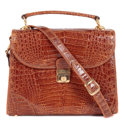 Caiman Skin Top Handle Small Satchel in with Detachable Shoulder Strap