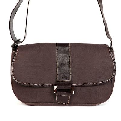Longchamp Canvas and Leather Front Flap Shoulder Bag