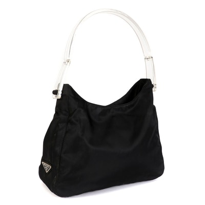 Prada Shoulder Bag in Black Tessuto Nylon with Transparent Handles