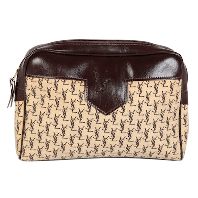 Yves Saint Laurent Zip Pouch in Monogram Canvas and Dark Brown Faux Leather