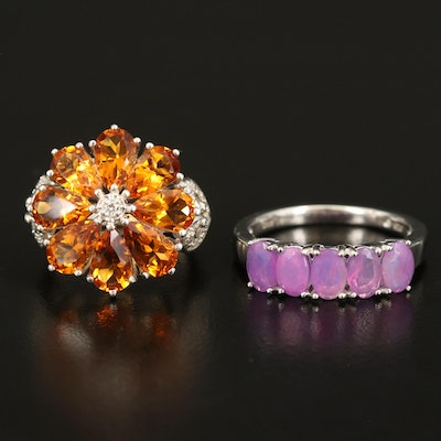 Sterling Opal Band with Citrine and Diamond Flower Ring