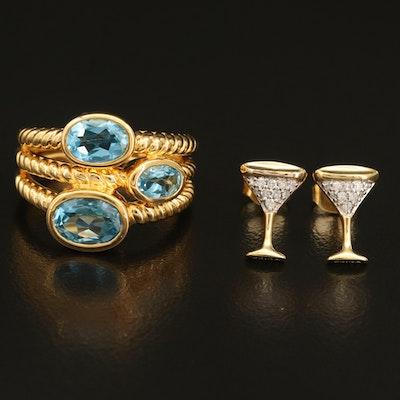 Sterling Diamond Martini Stud Earrings and Topaz Multi-Row Ring