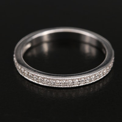 Sterling Zircon Band with Milgrain Detail