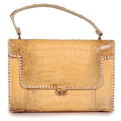 Alligator Skin Handbag with Whipstitched Trim