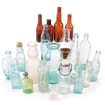 Brown, Clear, and Green Glass Apothecary, Food, and Alcohol Bottles