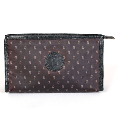 Fendi Zippered Cosmetic Clutch in Coated Canvas with Leather Trim
