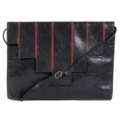 Fendi Leather Front Flap Bag with Red Stitching Details