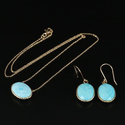 Sterling Faux Turquoise Necklace and Drop Earrings