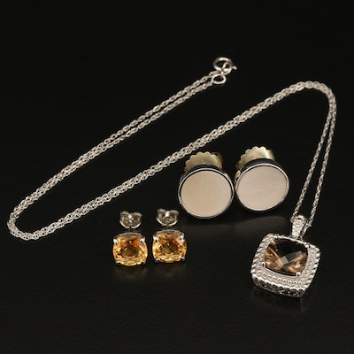 Sterling Smoky Quartz Pendant Necklace with Stud Earrings