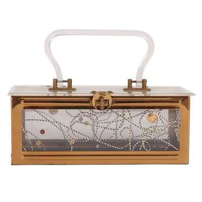 Dorset-Rex Lucite Handbag with Stylized Motif, Mid-20th Century