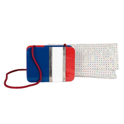 Dotted Mesh and Color Block Shoulder Bags