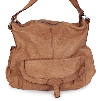 Liebeskind Berlin Shoulder Bag in Brown Grained Leather