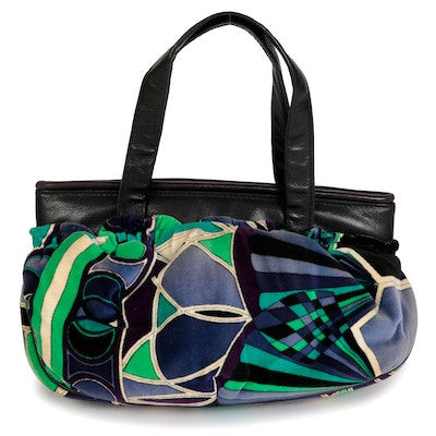Emilio Pucci by Jana Top Handle Bag in Abstract Print Velvet and Black Leather