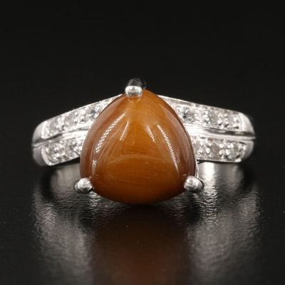 Sterling Silver Topaz and Tiger's Eye Ring