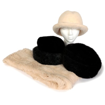 Lord & Taylor Rabbit Fur Scarf with Kangol, Betmar, and Other Faux Fur Hats
