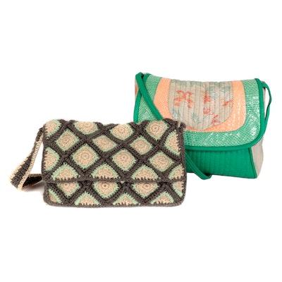 Leather and Snakeskin Flap Bag with Floral Knit Latticework Shoulder Bag