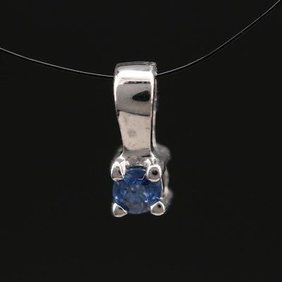 Sterling Sapphire Solitaire Pendant