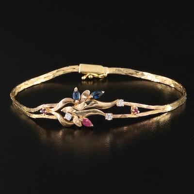 14K Ruby, Sapphire and Cubic Zirconia Cobra Link Bracelet