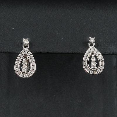 14K 0.48 CTW Diamond Teardrop Earrings with Articulating Center
