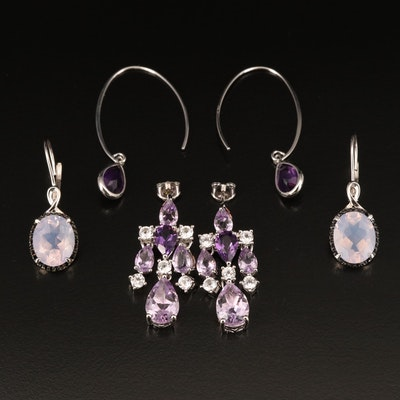 Sterling Earrings Including Amethyst, Zircon and Spinel