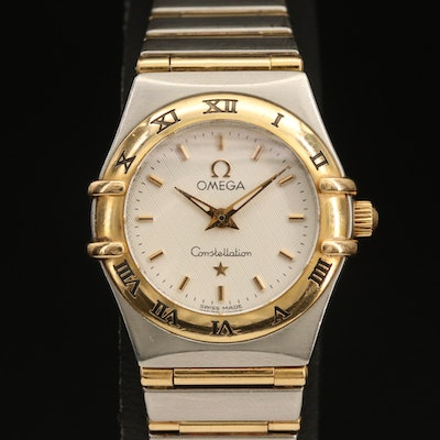 18K and Stainless Steel Omega Constellation Wristwatch