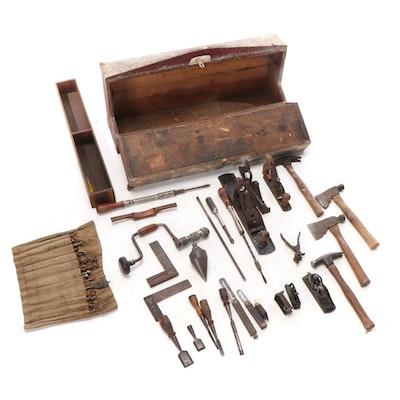 Stanley Plane and Other Hand Tools and Chest