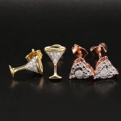 Sterling Diamond Heart and Martini Glasses Stud Earrings