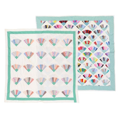 """Handmade """"Grandmother's Fan"""" Pieced Quilt and Quilt Top, 20th Century"""