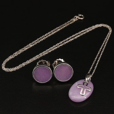 Sterling Quartz Earrings and Cross Pendant Necklace