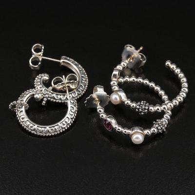Sterling Pearl and Garnet Open Hoop Earrings Featuring Michael Dawkins