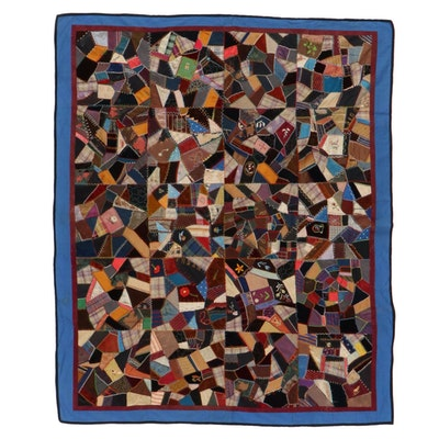 Handmade Patchwork and Embroidered Crazy Quilt, Early 20th Century