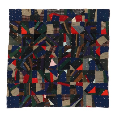 Handmade Patchwork Tied Crazy Quilt, Early 20th Century