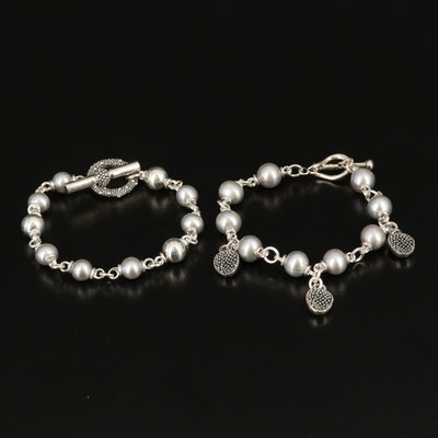 Michael Dawkins Sterling Pearl Bracelets