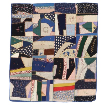 Handmade Patchwork and Embroidered Crazy Quilt, Mid-20th Century