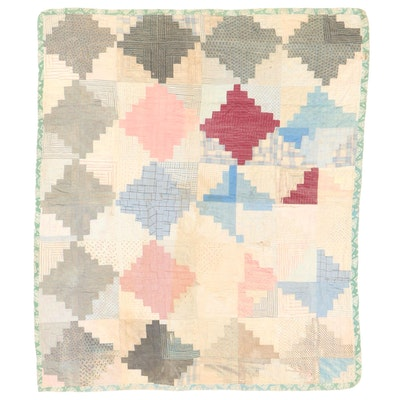 """Handmade """"Log Cabin"""" Pieced Quilt, Late 19th to Early 20th Century"""
